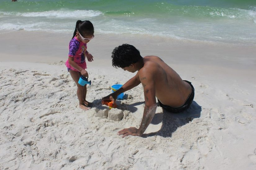 Geraldo and Isabella's sand castle in Panama City.
